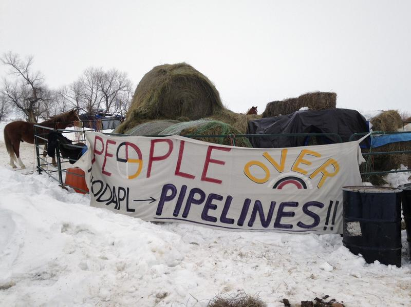 A sign along the route of the Dakota Access oil pipeline near Cannon Ball in North Dakota on Jan. 24.