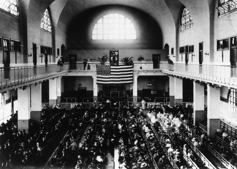 The registry hall on Ellis Island, N.Y., in the early-1900s. (Hulton Archive/Getty Images)