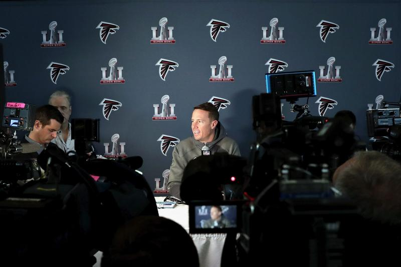 Matt Ryan of the Atlanta Falcons addresses the media at the Super Bowl LI press conference on Jan. 31, 2017 in Houston, Texas. (Tim Warner/Getty Images)
