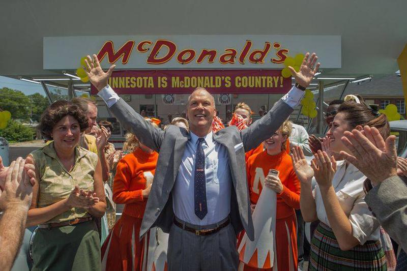 "Michael Keaton (center) stars as McDonald's titan Ray Kroc in John Lee Hancock's new film, ""The Founder."" (Courtesy the Weinstein Company)"