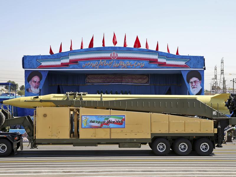 An Emad ballistic missile is displayed by the Revolutionary Guard during a September 2016 military parade in front of the shrine of Iran's revolutionary founder Ayatollah Khomeini, just outside Tehran. Iranian Foreign Minister Mohammad Javad Zarif has said Iran's missile program is not part of a 2015 landmark nuclear deal between his country and world powers.