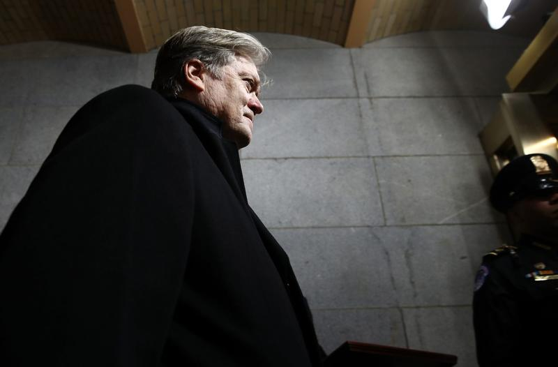Steve Bannon arrives before the presidential inauguration on the West Front of the U.S. Capitol on Jan. 20, 2017 in Washington. (Win McNamee/Getty Images)