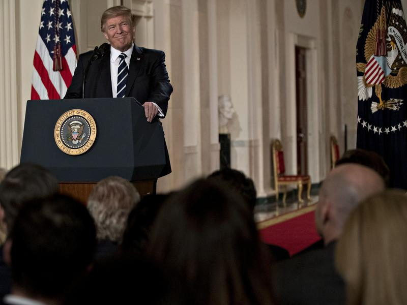 President Trump pauses while speaking before nominating federal Judge Neil Gorsuch to the U.S. Supreme Court during a ceremony in the East Room of the White House on Jan. 31.
