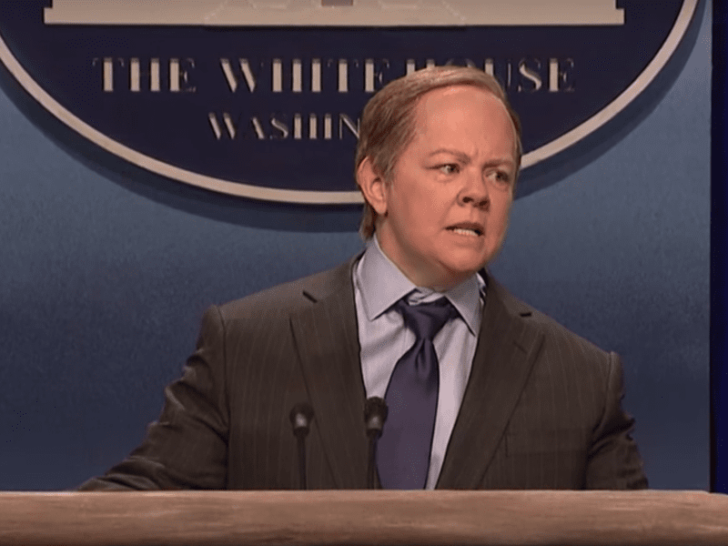 Melissa McCarthy portrays Press Secretary Sean Spicer in a sketch on this week's episode of <em>Saturday Night Live</em>.