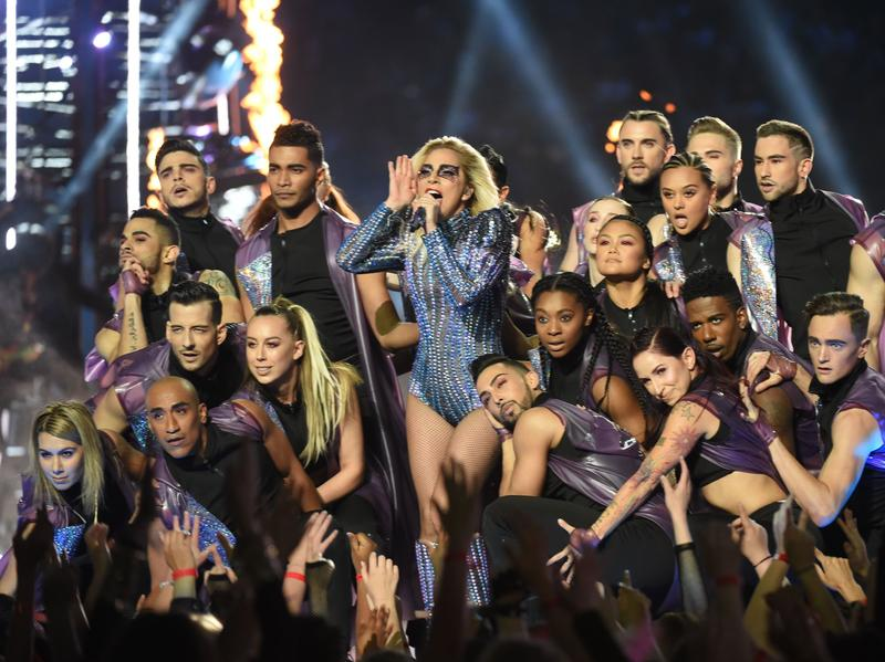 Singer Lady Gaga performs during the halftime show of Super Bowl LI.