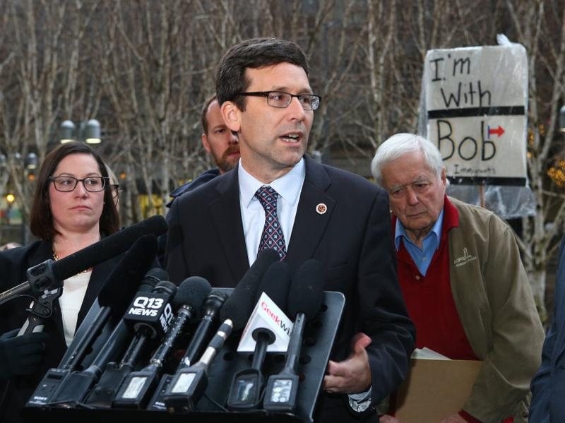 Washington state Attorney General Bob Ferguson speaks at a Feb 3. news conference outside U.S. District Court, Western Washington, in Seattle. Ferguson filed a state lawsuit challenging key sections of President Trump's immigration executive order.