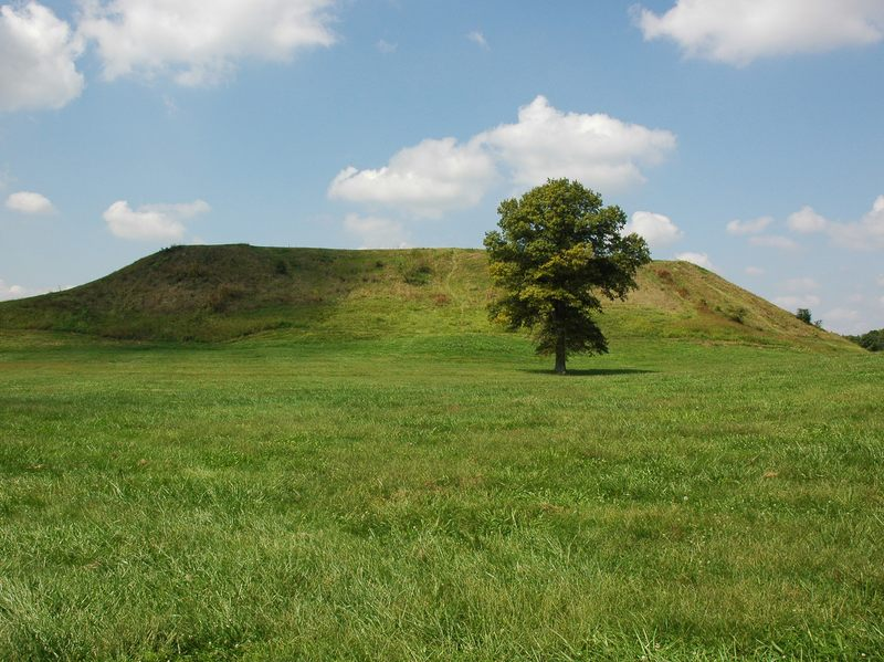 Cahokia Mounds State Historic Site in Collinsville, Ill. A thriving American Indian city that rose to prominence after A.D. 900 owing to successful maize farming, it may have collapsed because of changing climate.