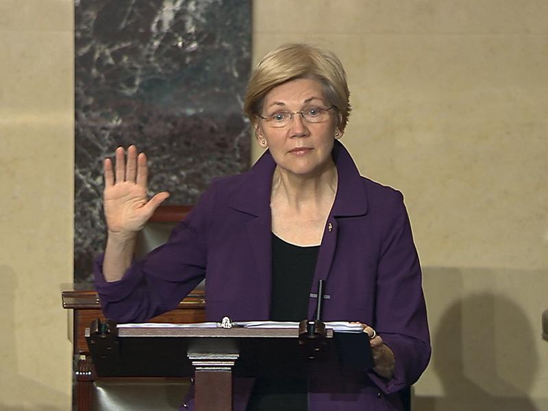 In this image from Senate Television, Sen. Elizabeth Warren, D-Mass., speaks on the floor of the U.S. Senate in Washington, D.C., on Monday, Feb. 6, 2017.
