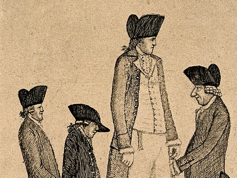 An 18th-century etching by artist John Kay depicts the extra tall Charles Byrne, the extra short George Cranstoun and three contemporaries of more conventional height. Byrne made his living as a professional spectacle and died at age 22 in 1783.