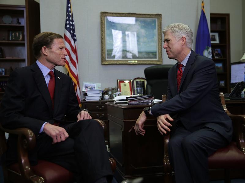 U.S. Supreme Court nominee Judge Neil Gorsuch meets with Sen. Richard Blumenthal, D-Conn., on Wednesday.