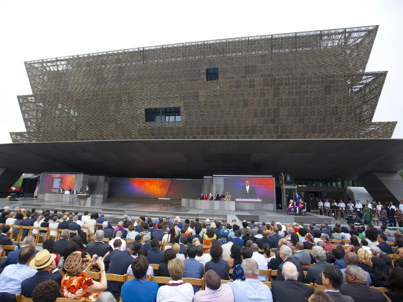 President Barack Obama speaks during the dedication ceremony for the Smithsonian Museum of African American History and Culture in Washington, DC, on Sept. 24, 2016.