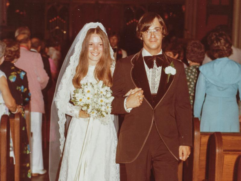 Claudia and Bill on their wedding day, July 12, 1975.