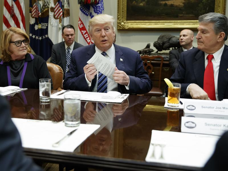 President Trump sits between Democratic Sens. Heidi Heitkamp of North Dakota and Joe Manchin of West Virginia at the White House on Thursday.