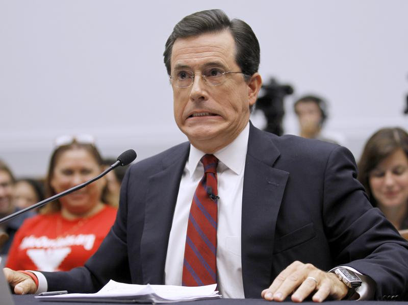 This is not a photo of Stephen Colbert answering the questions we planned to ask Lena Dunham, but rather, testifying before the House Immigration, Citizenship, Refugees, Border Security and International Law subcommittee in September 2010. His face kind of looked the same, though.
