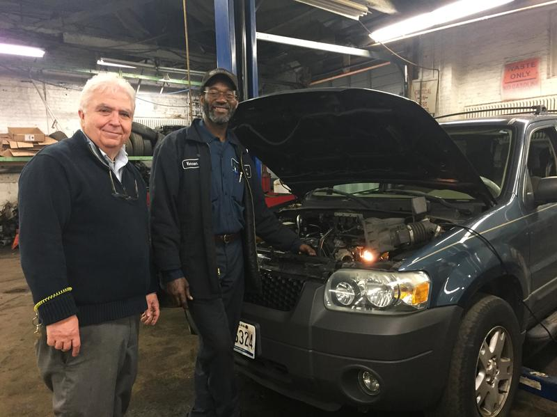 When Jerry Greeff (left) wanted to retire, he donated his auto shop to a nonprofit. Vernon Shaw was Greeff's right-hand man and was a big part of the reason Greeff couldn't just let the business go. By donating the business, Greeff made sure Shaw and his other employees could keep their jobs.