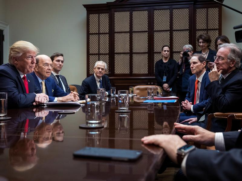 President Donald Trump, Commerce Secretary nominee Wilbur Ross and senior advisor Jared Kushner attend a meeting with Senate and House legislators, in the Roosevelt Room at the White House, February 2, 2017 in Washington, D.C. Lawmakers included in the meeting were Sen. Orrin Hatch (R-UT), Rep. Kevin Brady (R-TX), Sen. Ron Wyden (D-OR) and Rep. Richard Neal (D-MA).