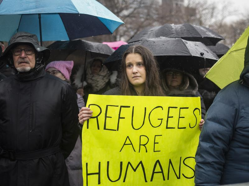 The Hebrew Immigrant Aid Society or HIAS, a Jewish group that supports refugee resettlement, held a rally against President Trump's immigration ban on Feb. 12 in New York City. The group worries that giving governors the power to veto arrivals — something President Trump wants to do that last week's court ruling did not address — could unravel the resettlement program.