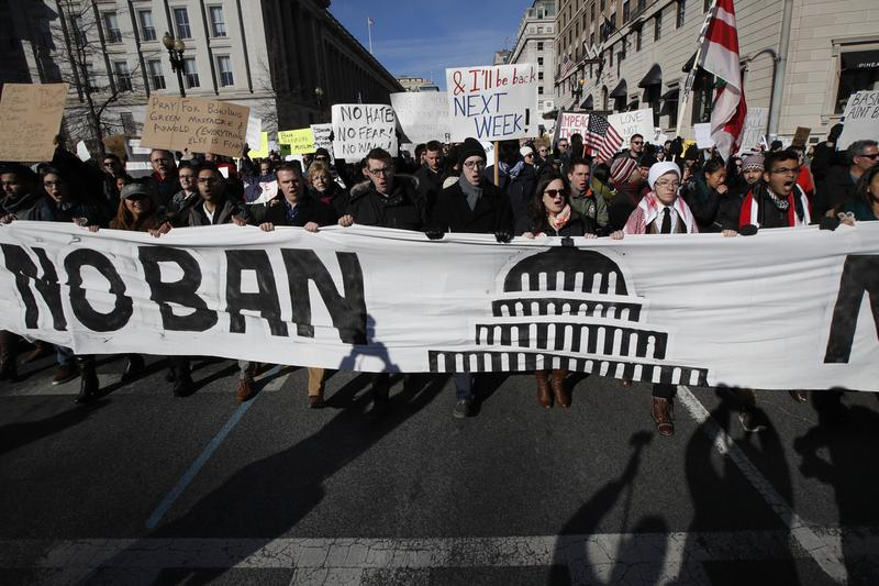 Protesters march from Lafayette Park near the White House in Washington. (Manuel Balce Ceneta/AP)