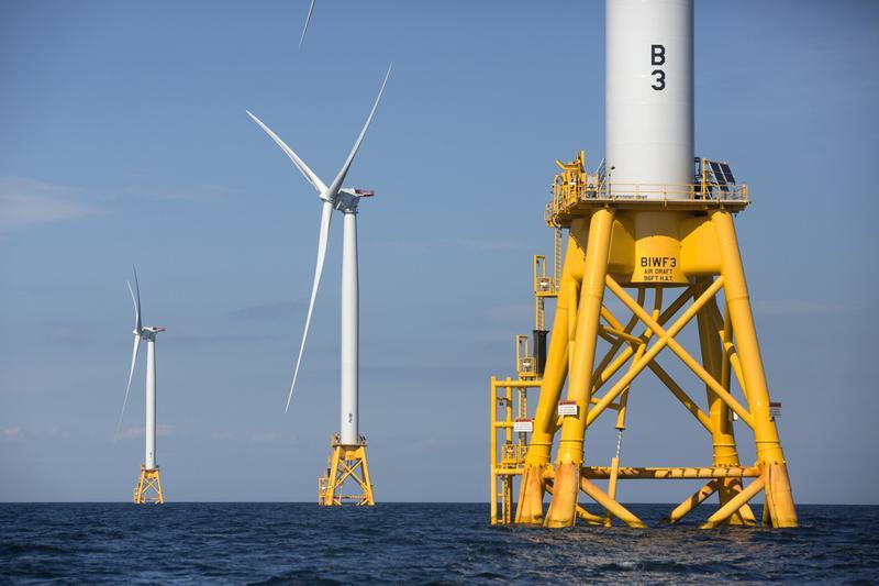 Three wind turbines from the Deepwater Wind project off Block Island, R.I. (Michael Dwyer/AP)