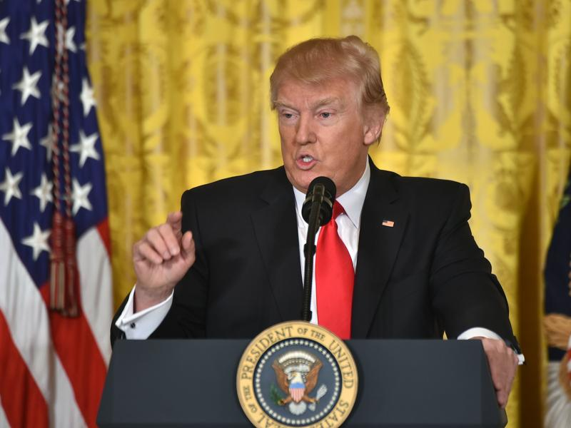 President Trump speaks during a news conference Thursday at the White House in Washington, D.C.