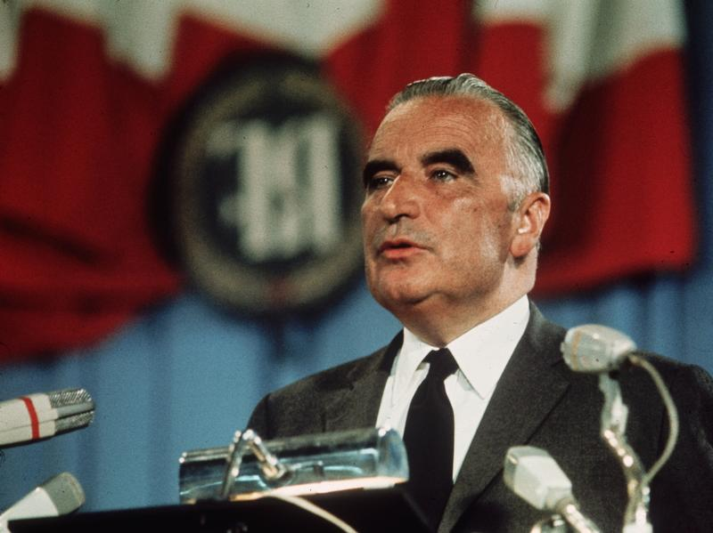 French President Georges Pompidou, shown here in 1969, launched an international competition in 1971 to design and build the museum.