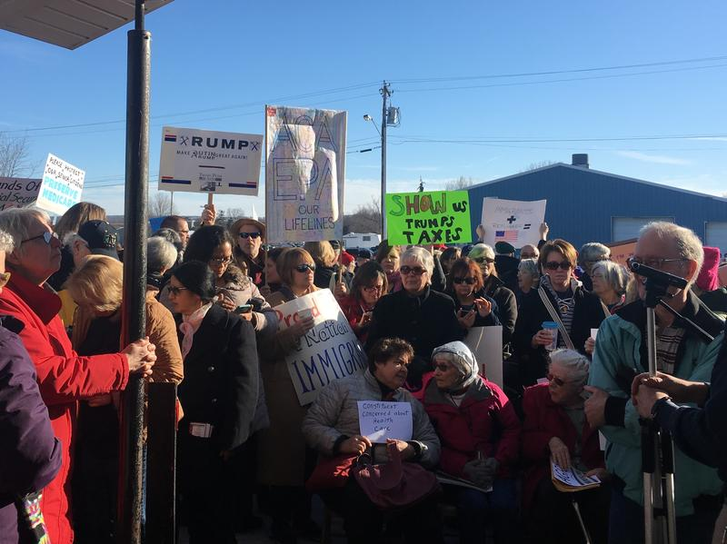 An overflow crowd forced Rep. Tom Reed, R-N.Y., to hold his first town hall in Ashville, N.Y., outside in a parking lot instead of inside the seniors center.