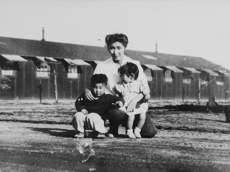 This 1945 photo provided by the family shows Shizuko Ina, with her son Kiyoshi (left) and daughter Satsuki in an internment camp in Tule Lake, Calif. This photograph was taken by a family friend who was a soldier at the time, since cameras were considered contraband at the camp. Satsuki was born at the camp.