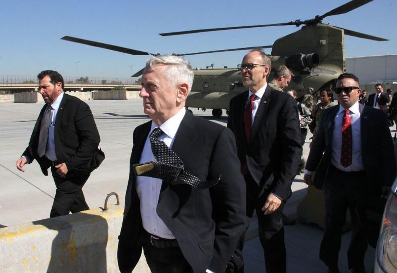 U.S. Secretary of Defense, James Mattis (center), arrives in the Iraqi capital Baghdad, on Feb. 20, 2017. (Thomas Watkins/AFP/Getty Images)