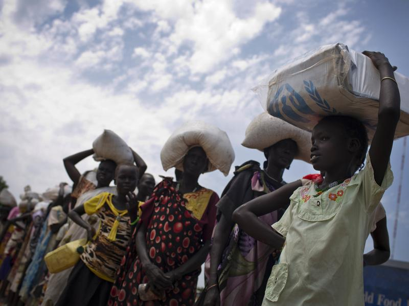 A World Food Program food distribution site in Bentiu, South Sudan. The U.N. says nearly 5 million people in the country do not have enough food, and in one region people are already dying of starvation.