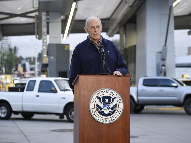 Memos signed by Secretary of Homeland Security John Kelly, seen at a news conference earlier this month at the San Ysidro Port of Entry in San Diego, lay out a number of immigration-enforcement measures, such as expedited deportation proceedings for unauthorized immigrants who have been in the U.S. illegally for up to two years.