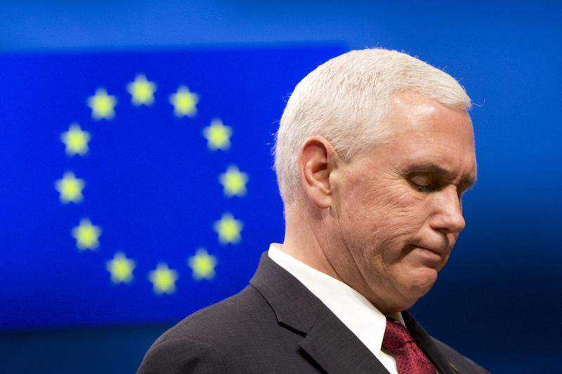 United States Vice President Mike Pence pauses before speaking during a media conference at the EU Council building in Brussels on Monday, Feb. 20, 2017. U.S. Vice President Pence is currently on a two-day visit to meet with EU and NATO officials. (AP Photo/Virginia Mayo, Pool)