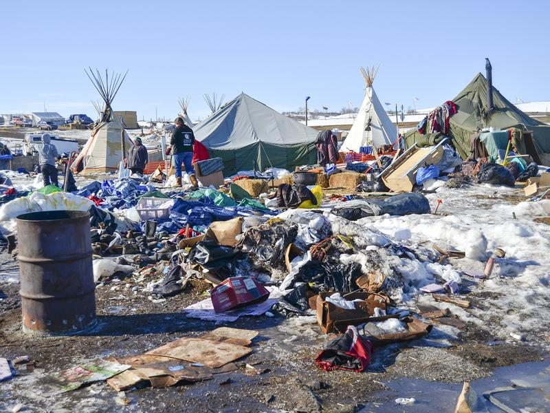 Piles of debris remain at camp. Some of these items were donated by people who support the movement. Others were abandoned by protesters who left camp.