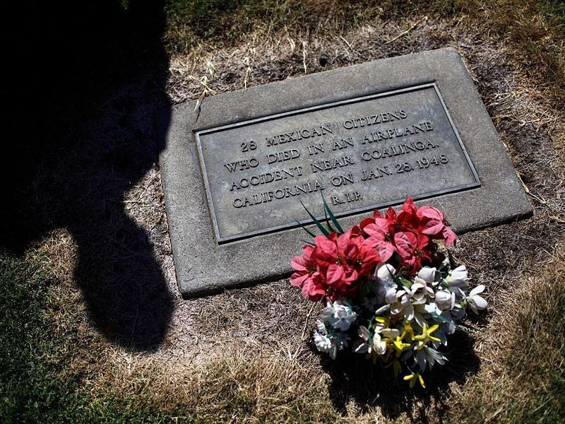 On Jan. 28, 1948, a plane chartered by U.S. Immigration Services crashed in Los Gatos Canyon. All 32 people aboard were killed, including 28 Mexican nationals, who were buried anonymously.