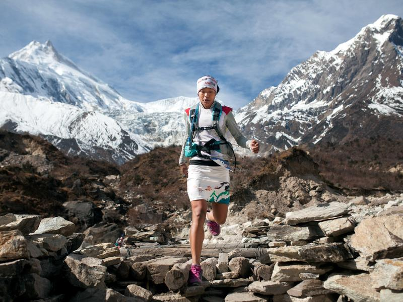 Rai competes at the 2014 Manaslu Trail Race, which passes through Nepal's Himalayan landscapes.