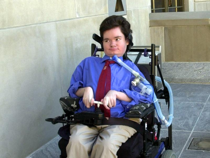 Nick Dupree arrives at the Federal Courthouse in Montgomery, Ala. on Feb. 11, 2003. His success in getting the state to continue support past age 21 enabled him to attend college and live in his own home.