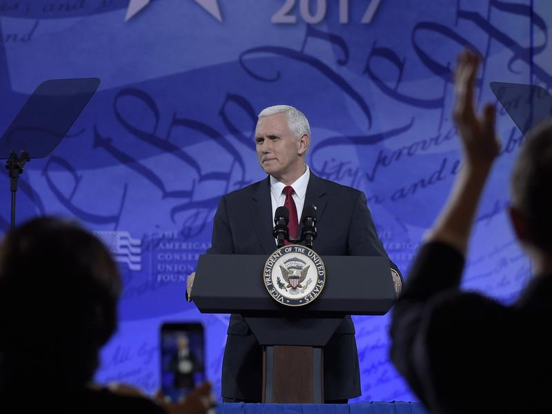 Vice President Mike Pence speaks at the Conservative Political Action Conference on Thursday.