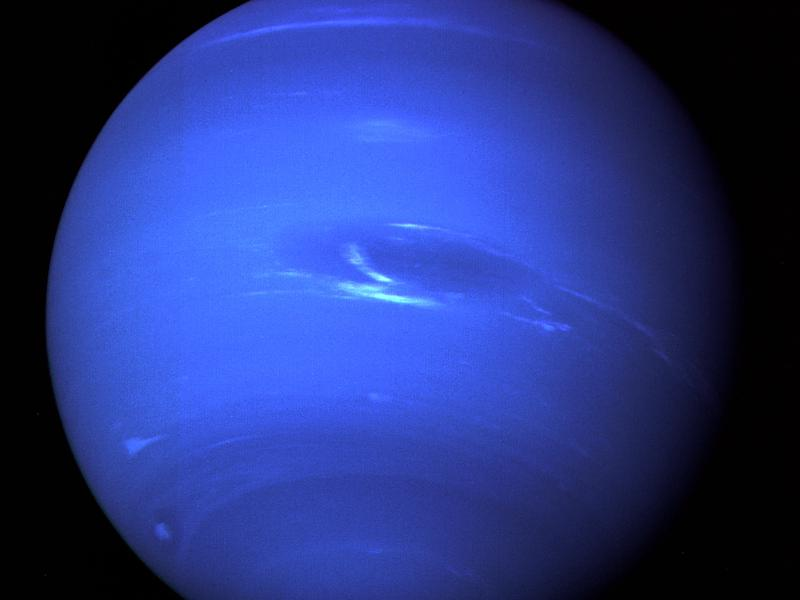 NASA's Voyager 2 spacecraft gave humanity its first glimpse of Neptune and its moon Triton in the summer of 1989. This picture of Neptune was produced from the last whole planet images taken through the green and orange filters on the Voyager 2 narrow angle camera on Aug. 20, 1989.