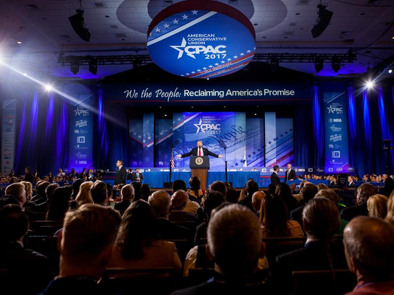 President Trump speaks on the final morning of CPAC at  the Gaylord National Resort & Convention Center in Maryland.