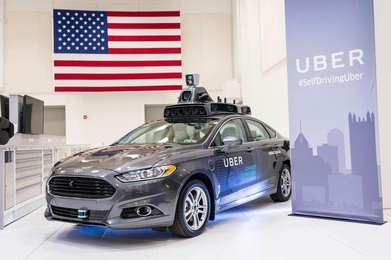 A pilot model Uber self-driving car is displayed at the Uber Advanced Technologies Center.  (Angelo Merendino/AFP/Getty Images)