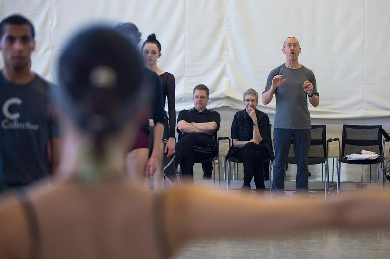 "Choreographer William Forsythe, center, guides dancers through a rehearsal for ""Artifact,"" which has its Boston premiere on Feb. 23, 2017, at the Boston Opera House. (Jesse Costa/WBUR)"