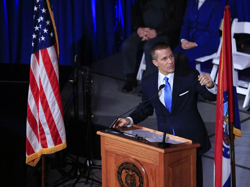 Eric Greitens, shortly before becoming governor of Missouri in January 2017. To address a revenue shortfall, Greitens  cut $68 million in spending for the state's higher education system shortly after taking office.