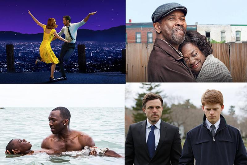 """A round robin set of screenshots from some of the films nominated for 2017 Academy Awards. [Clockwise, top left: """"La La Land,"""" """"Fences,"""" """"Manchester-By-The-Sea,"""" """"Moonlight.]"""" (Courtesy Studios)"""