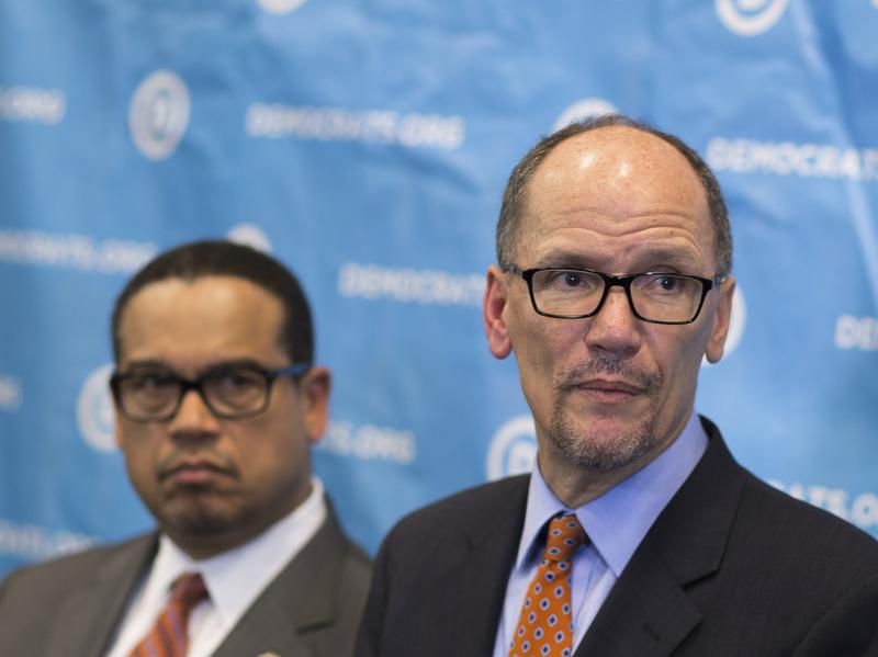 Newly-elected Democratic National Committee Chairman Tom Perez, right, and Rep. Keith Ellison, D-Minn., who was named deputy chairman at the DNC winter meeting in Atlanta, Saturday, Feb. 25, 2017.