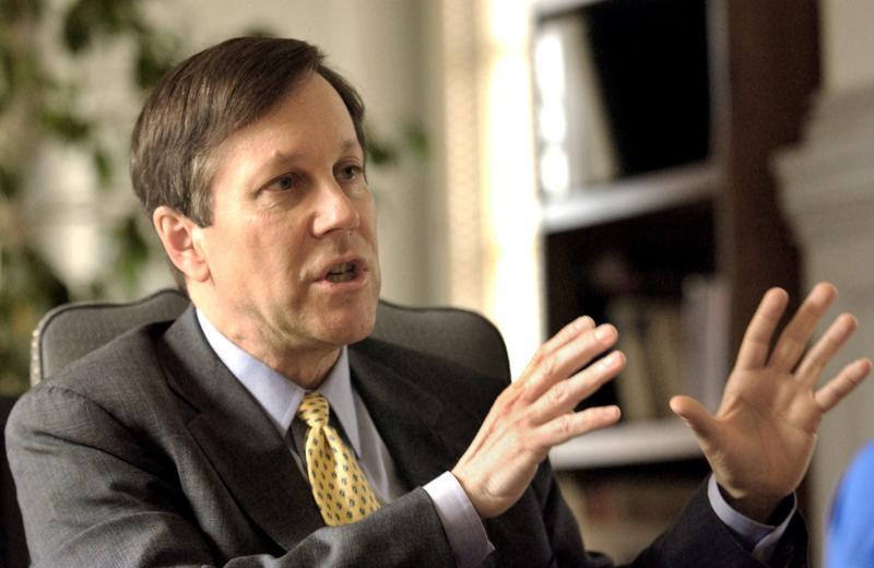Dana Gioia, former chairman of the National Endowment for the Arts, is interviewed by the Associated Press in April 2003 in Washington. (Evan Vucci/AP)