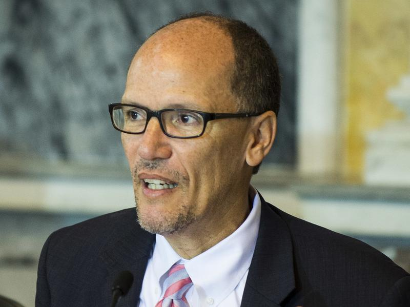 """Newly elected DNC Chair Thomas Perez — shown here in June 2016 as the secretary of the Labor Department under President Obama — says Democrats need a """"50-state strategy"""" to defeat Republicans at all levels of government."""