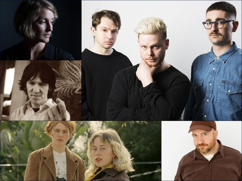 Clockwise from upper left: Joan Shelley, alt-J, Stephin Merritt of The Magnetic Fields, Girlpool, Elliott Smith