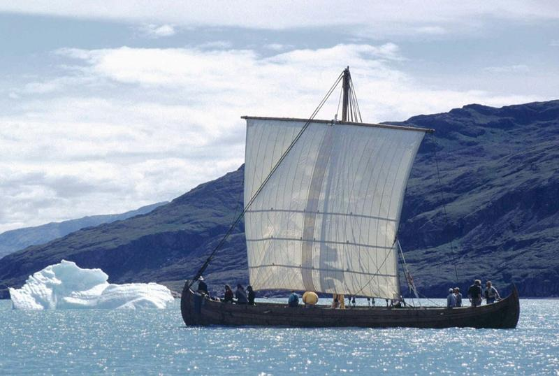A Viking replica Longship sails across the fjord at Narsarsuaq in Greenland in July 1997. (John Rasmussen/AP)