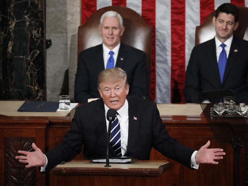 """Vice President Pence says President Trump showed his """"broad heart and big shoulders"""" in Tuesday night's address to Congress."""