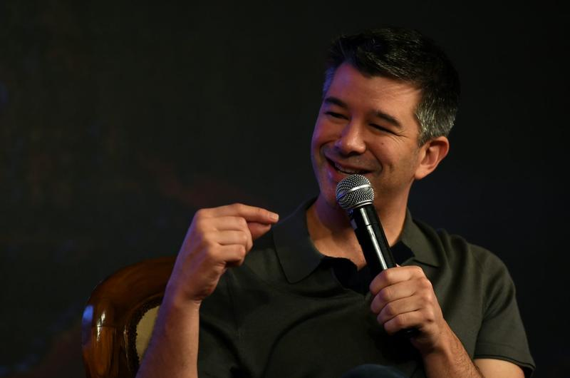 Co-founder and Chief Executive Officer (CEO) of Uber Travis Kalanick speaks in New Delhi in 2016. (Money Sharma/AFP/Getty Images)