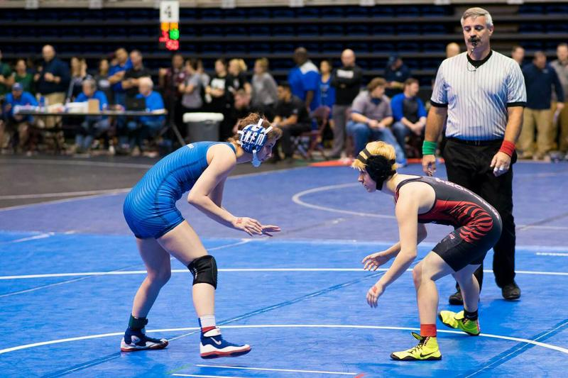 Mack Beggs (right) during a recent wrestling match. Beggs became the first transgender person to win a Class 6A girls' state championship in Texas high school wrestling. (Courtesy Mack Beggs)